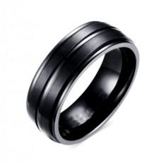 Inel negru otel inoxidabil latime 8 mm - CRESTAT - marimea 11 si 12