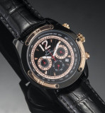 CEAS DE LUX CHRONOGRAPH , MONTE WEHRO BLACK  data 3 cadrane PRET MINIM  - VIDEO, Elegant, Quartz, Inox