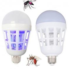 Bec LED E27 15W Si Lampa UV Anti Tantari Insecte, Becuri LED, Rece (4100 - 4999 K)