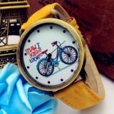 Ceas de dama QUARTZ cu mesaj galben cu alb, Fashion, Inox
