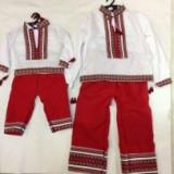 COSTUM NATIONAL popular de la 1 la  7 ani ie+pantaloni produs in Romania COPII, Marime universala, Alb