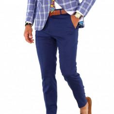 Pantaloni albastri, slim fit, pentru barbati, eleganti, PREMIUM, A1848