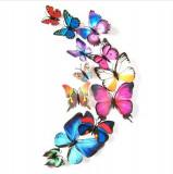 Fluturi 3D magnet, decoratiuni casa sau evenimente, 12 bucati, multicolor