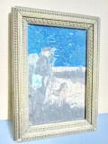 Tablou mic vechi acuarela- creion: Vanator cu caine. Perioada cca 1930, Scene gen, Realism