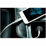 Incarcator Auto Samsung iPhone Universal Cu Cablu Lightning 8 pin Si Port USB Argintiu