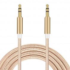 Cablu jack 3,5mm la jack 3,5mm fir textil auriu
