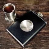 Sticla din inox de buzunar cu pahar pliabil flask butelca 240 ml palnie cadou
