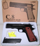 PROMOTIE! PISTOL AIRSOFT FULL METAL C8,CALIBRU 6MM,INCARCATOR+500 BILE BONUS.NOU, We Airsoft