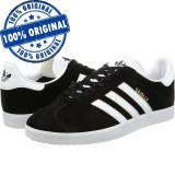 Pantofi sport Adidas Originals Gazelle pentru barbati - adidasi originali -piele, 45 1/3, Negru, Piele intoarsa