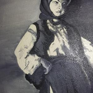 Tablou vechi anii 1900-Taranca cu ulciorul-Grigorescu,Pictura pe panza,T.GRATUIT