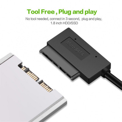 Cablu adaptor Micro SATA (7+9pini) la USB 3.0, pentru SSD si HDD de 1.8inch foto