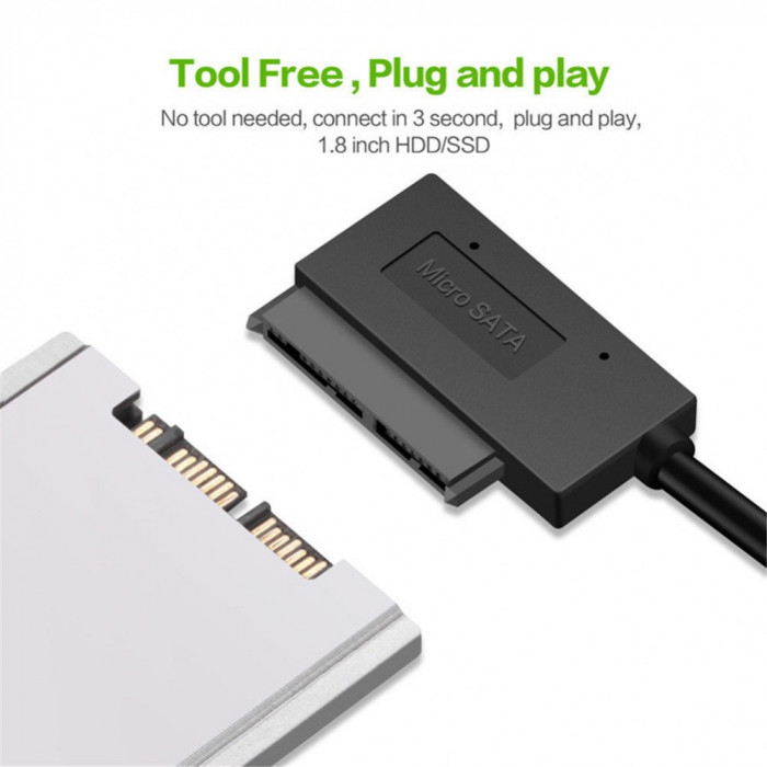 Cablu adaptor Micro SATA (7+9pini) la USB 3.0, pentru SSD si HDD de 1.8inch