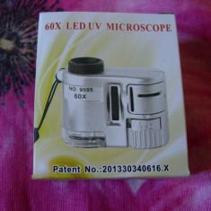 Mini-Microscop 60x -de buzunar-cu lumina led si lampa UV