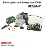 Minicompresor DEDRA 300W cu kit aerograf , 3.5 bar, 50L-60L/min