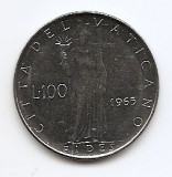 Vatican 100 Lire 1965 - Pavlvs VI, 27.75 mm KM-82.2, Europa