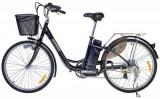 Bicicleta electrica Nova Vento Clasic L26A, Motor 250 W, Roti 26inch, 7 viteze, Autonomie 55 Km, Viteza maxima 25 km/h (Negru)