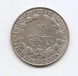 Indochina Franceza 10 Centimes 1922 - Argint 2.7g /680, 19 mm KM-16.1, Asia