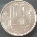 Moneda 100 LEI - ROMANIA, anul 1992  *cod 72 LITERE GROASE, CIFRELE LANGA MUCHIE