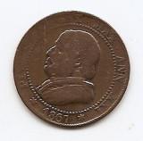 Vatican (Papal States) 1 Soldo /5 Centesimi 1867  Pius IX, Cupru, KM-1372 (uzat), Europa