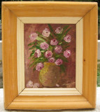 Cumpara ieftin Tablou Natura statica cu flori roz pictura ulei pe mucava 29x33cm