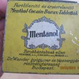 Farmacie-cutie tabla-Mentanol-mentnol-cocain-borax-tablettak