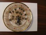PVM - Farfurie decorativa sarma cupru aurita si email / paun cu coada desfacuta, Ornamentale