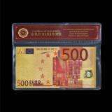 EUROPA - 500 EURO  BANCNOTA POLYMER PLACATA CU AUR 24K IN POSETA CU CERTIFICAT