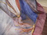 Batic matase naturala, spuma, Multicolor