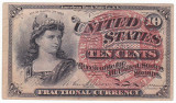 STATELE UNITE 10 centi 1874 XF emisiunea 4 filigran P-115 Fractional Currency
