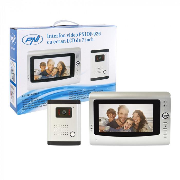 Resigilat : Interfon video PNI DF-926 cu 1 monitor, ecran LCD 7 inch, iesire pentr