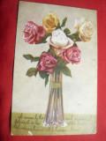 Ilustrata - Trandafiri ,cenzurata Sf.Gheorghe , circulat Brasov, Circulata, Printata