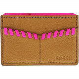 Portofel Fossil Dama Whip-Stitched Card Case Leather Wallet - Tan