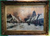 Tablou f vechi scoala Belgian Frans Von Huffel, Peisaje, Ulei, Realism