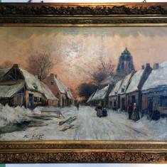 Tablou f vechi scoala Belgian Frans Von Huffel