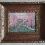 Tablou cu rama pictura peisaj ulita sat primavara, Peisaje, Acrilic, Impresionism