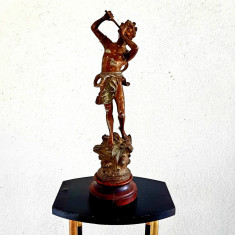 STATUETA-BAIAT CU FLUIER-TROFEU MUZICAL-STATUETA DIN ANTIMONIU PATINAT-ANII 1900