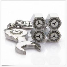 Breloc auto cheie  pentru mercedes si set 4 capacele ventil logo