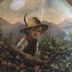 ANTICHITATI FARFURIE PICTATA ULEI TABLA METAL TIP TABLOU VINTAGE, Scene gen, Realism