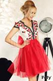 Rochie Fofy baby-doll rosie cu tul si flori brodate