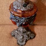 ANTICHITATI 1860-1880 VALOROASA LAMPA BAROC bronz statueta decor de exceptie