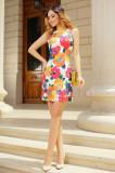 Rochie de zi cu imprimeu floral colorat, Raspberry