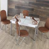 Masa Extensibila Alfa cu 4 scaune Maxinova Alb / Maro
