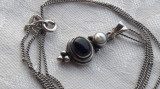MEDALION argint cu PERLA si ONIX finut SPLENDID vechi DELICAT rar pe Lant argint
