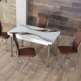 Masa exensibila Daria cu 4 scaune Maxinova Alb / Maro
