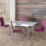 Masa exensibila Daria cu 6 scaune Maxinova Alb/Mov