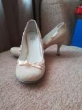 Pantofi cu toc piele, 39, Bej, Bata