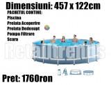 Piscina Familie Relaxare Rotunda Cadru Metal 457x122cm + Scara + Pompa + Prelata