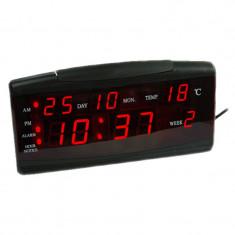 Ceas birou cu calendar ZXTL-13B, LED, Negru, Oem