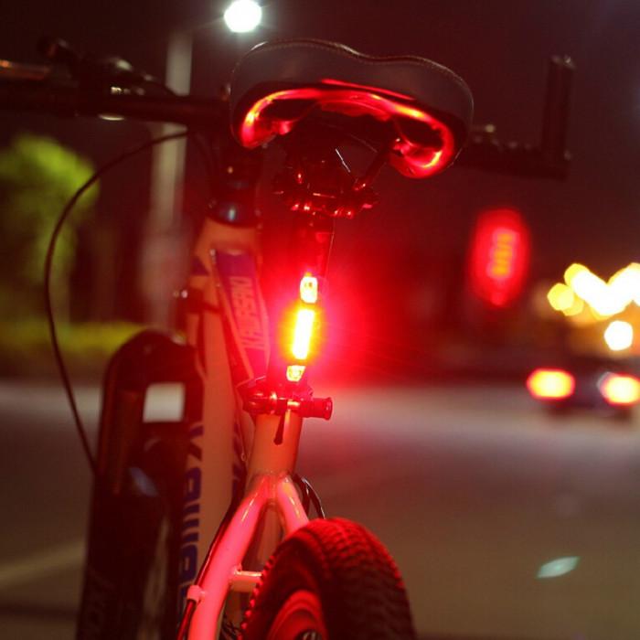 Lumini bicicleta spate cu leduri, lumini de siguranta pe timpul noptii, 4 moduri