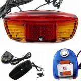 Stop frana cu semnalizare LED bicicleta, claxon, 7 moduri iluminare
